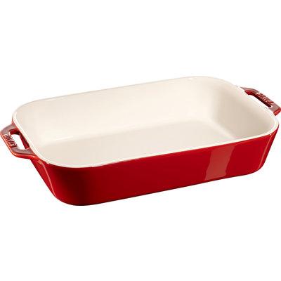 """STAUB Ceramic 13.4"""" X 9.4"""" Rectangular Dish Cherry Red"""