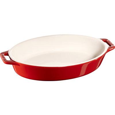 "STAUB Ceramic 9"" X 5.9"" Oval Dish Cherry Red"