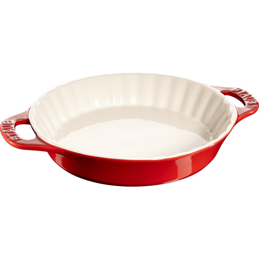 """STAUB Ceramic Pie Dish 11"""" Cherry Red"""