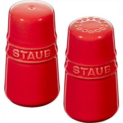 STAUB Ceramic Salt & Pepper Shakers Cherry Red