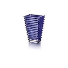 BACCARAT Oeil Vase Rectangulaire Petit Bleu 7 7 / 8''H
