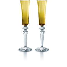 BACCARAT Flutissimo Mille Nuits Champagne Flutes Amber Set/2