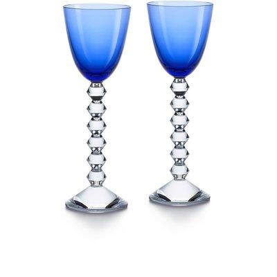 BACCARAT Vega Rhine Wine Blue Glass X2