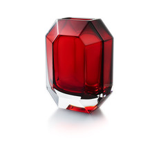 """BACCARAT Octogon Vase Rouge(Double Cased Rouge Crystal)H 9 4/5"""""""