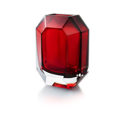 BACCARAT Octogon Vase Rouge(Double Cased Rouge Crystal)H 9 4/5""