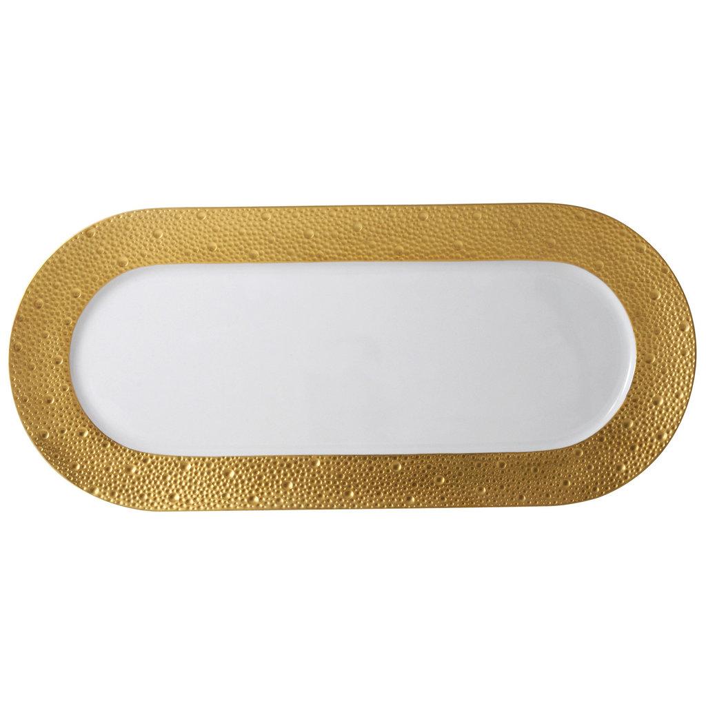 BERNARDAUD Ecume Gold Cake Platter Rectangular 15''