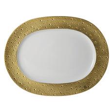 "BERNARDAUD Ecume Gold Oval Platter - 17"""