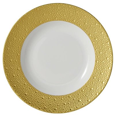 "BERNARDAUD Ecume Gold Rim Soup - 9"""