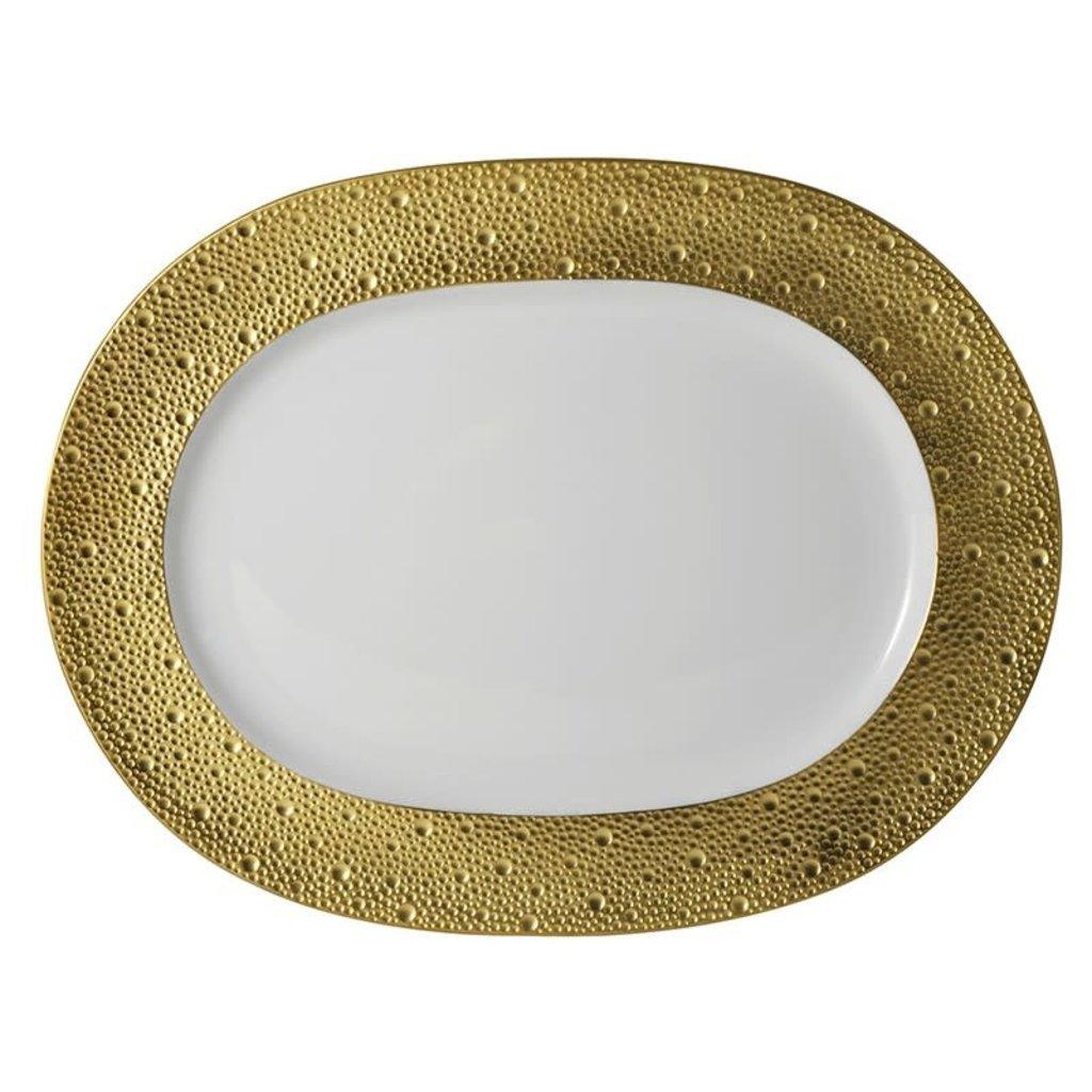 BERNARDAUD Ecume Gold Oval Platter 13.8''