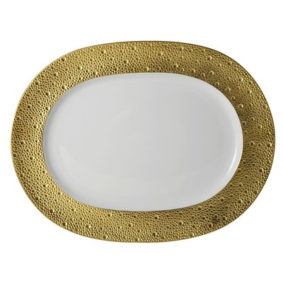 "BERNARDAUD Ecume Gold Oval Platter - 13.8"""