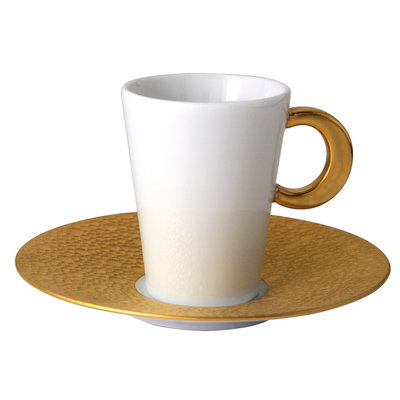 BERNARDAUD Ecume Gold Set Of 4 Coffee C&S