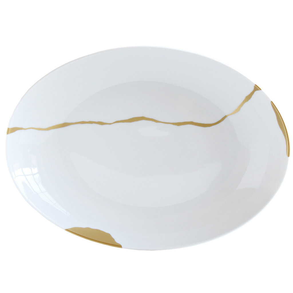 BERNARDAUD Kintsugi - Sarkis Oval Platter-15.4X11In