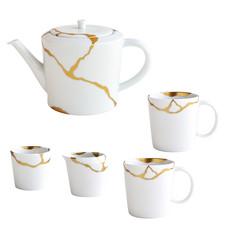 BERNARDAUD Kintsugi - Sarkis Set Composed Of A Tea Pot, 2 Mugs, A Tumbler And A Creamer