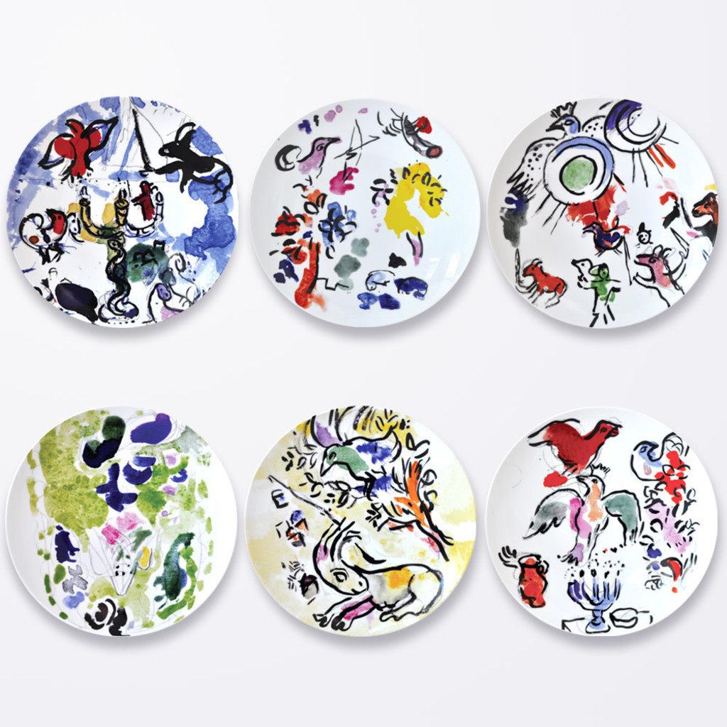 BERNARDAUD The Hadassah Windows - Marc Chagall Coupe Plate 10.6In-Set/6