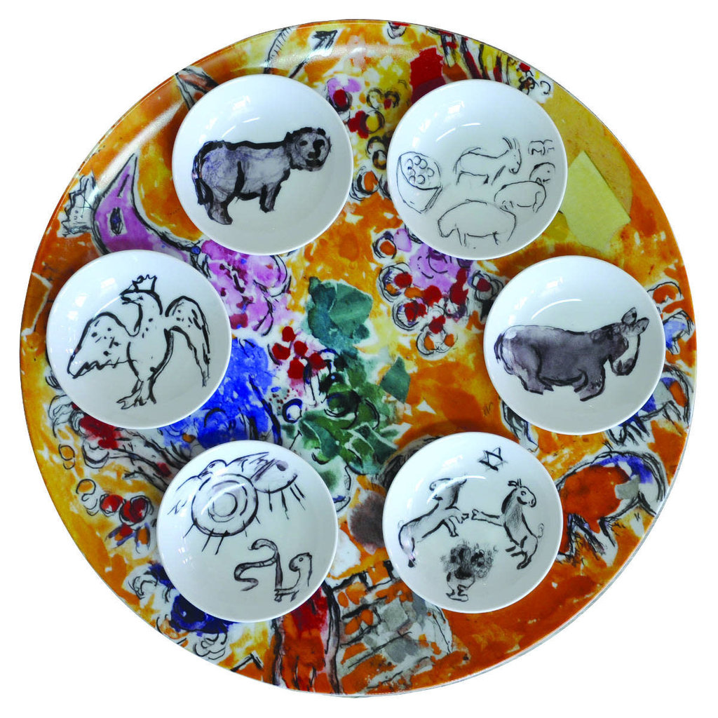 "BERNARDAUD The Hadassah Windows - Marc Chagall Seder Platter And Dishes-Set/6 - ""Joseph Tribe"""