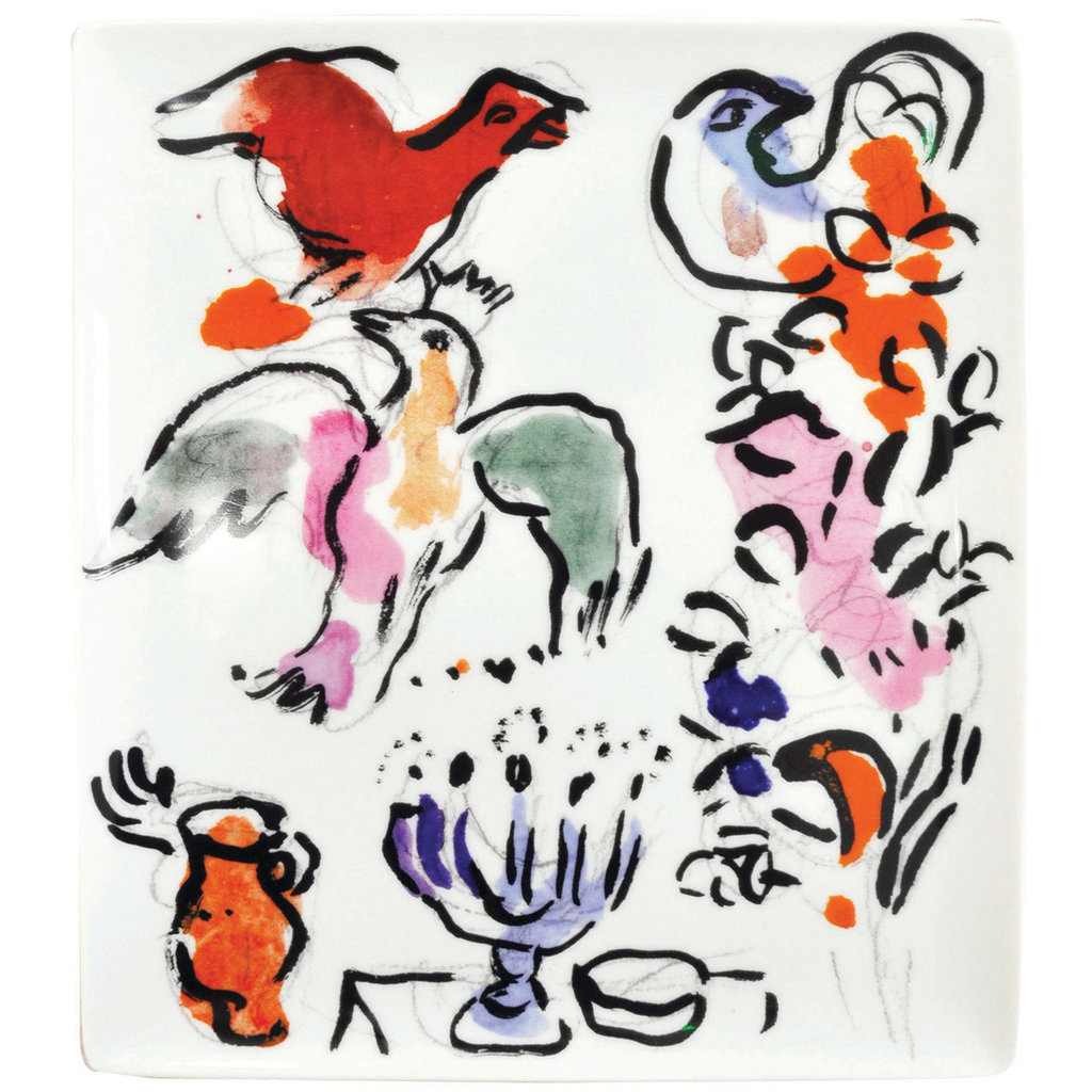"BERNARDAUD The Hadassah Windows - Marc Chagall Rectangular Tray-10.4X9.3In - ""Asher Tribe"""