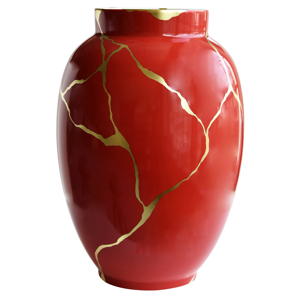 "BERNARDAUD Kintsugi - Sarkis Large Vase Cobalt Red 22.4"" - Limited Edition Of 36"
