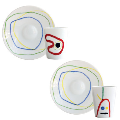 BERNARDAUD A Toute Epreuve - Joan Miro Set Of 2 Assorted Coffee Cups And Saucers