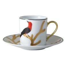 BERNARDAUD Aux Oiseaux Ad Cup & Saucer - Set Of 6 - Round Box