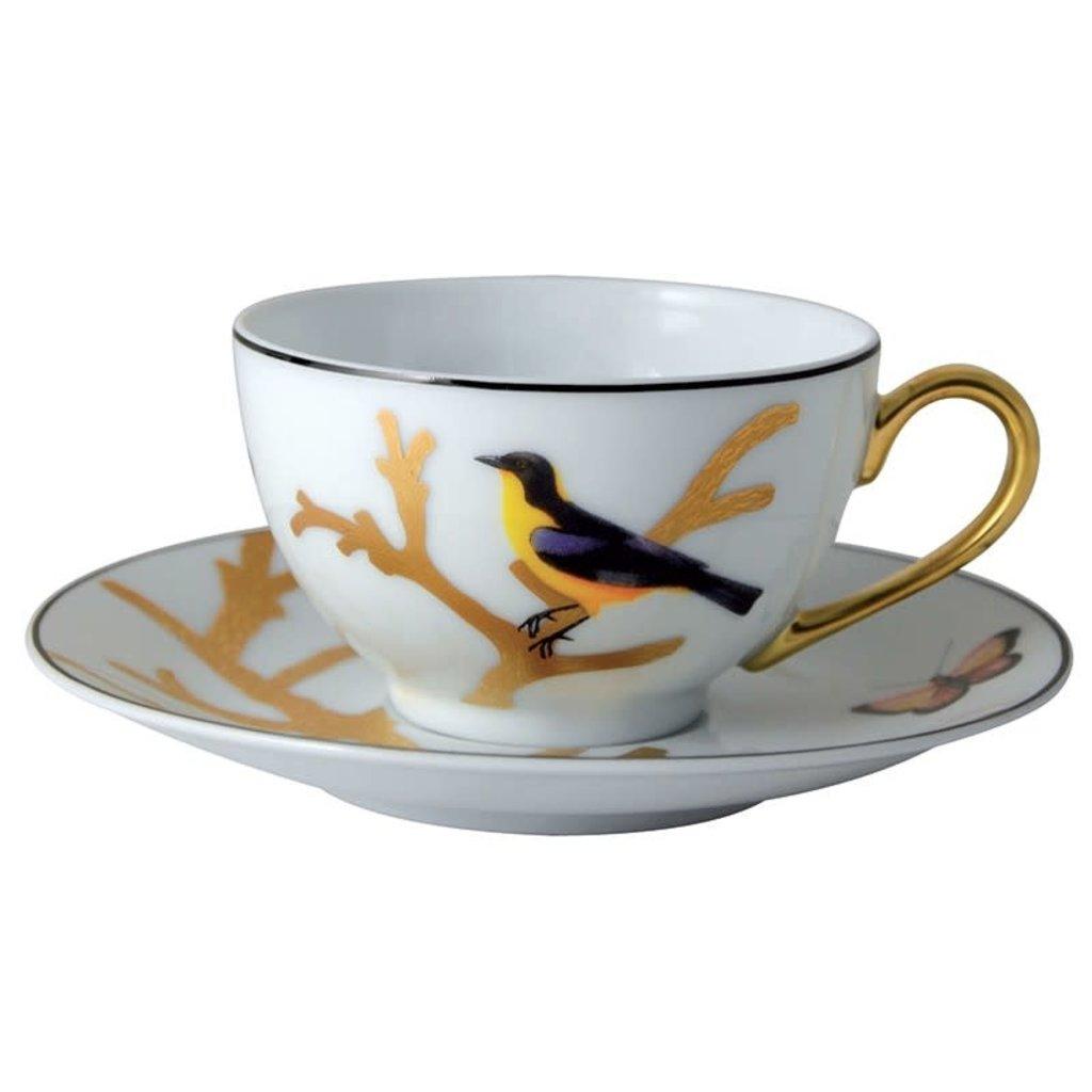 BERNARDAUD Aux Oiseaux Tea Cup & Saucer - Set Of 6 - Round Box