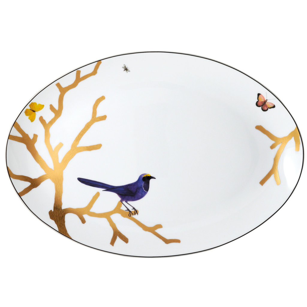 BERNARDAUD Aux Oiseaux Oval Platter 15''