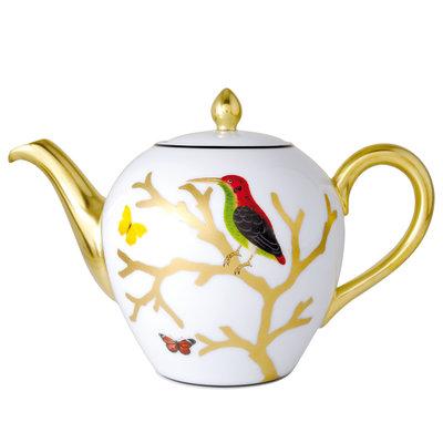 BERNARDAUD Aux Oiseaux Teapot (Boule Shape)