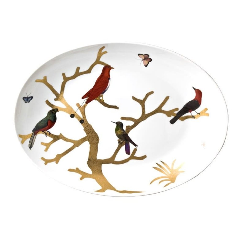 "BERNARDAUD Aux Oiseaux Oval Platter - 15.4 X 11"""