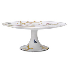BERNARDAUD Aux Oiseaux Footed Cake Platter