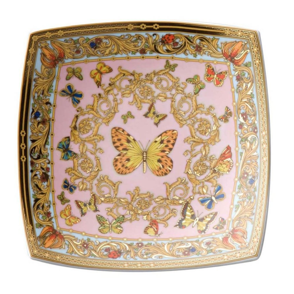 VERSACE Butterfly Garden Candy Dish Porcelain 5 1/2'' Square