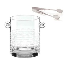 """Truro Frosted Ice Bucket With Tongs 8.25"""""""