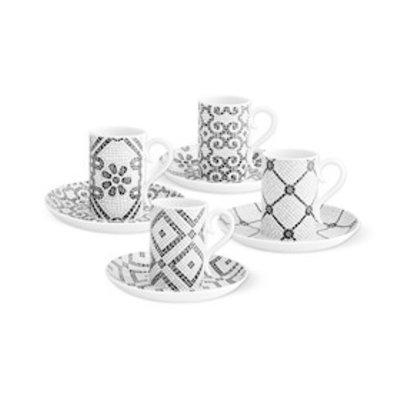 VISTA ALEGRE Calcada Portuguesa - Set 4 Coffee Cups & Saucers