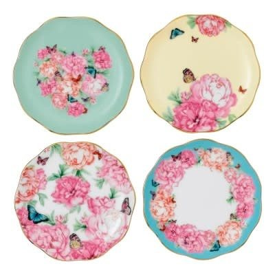 ROYAL ALBERT Miranda Kerr Tidbit Plates Set/4 - 3.9'' (Blessings - Joy - Grat. - Dev.)