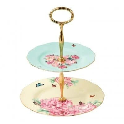 ROYAL ALBERT Mixed Patterns Blessings & Joy Cake Stand Two-Tier -