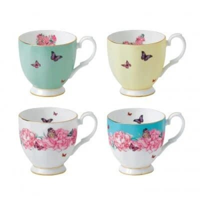 ROYAL ALBERT Miranda Kerr Vintage Mug Set/4 - 10.5 Oz (Blessing - Devotion - Joy - Gratitude)