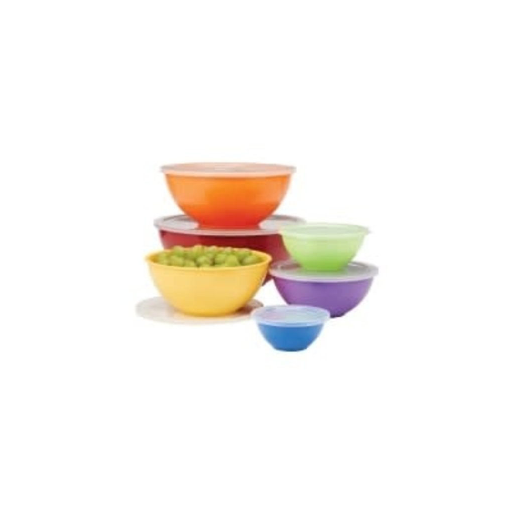 """PORT-STYLE Bowl Set With Lids Melamine Stainless Steel Assorted Colours 6 - 10"""""""