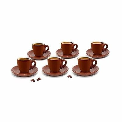 CUISINOX Espresso Cups Brown / White Porcelain Set Of 6