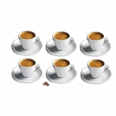 CUISINOX Espresso Cup & Saucer White Porcelain Set/6