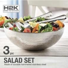 Ensemble À Salade Acier Inox Avec 2 Pièces De Service