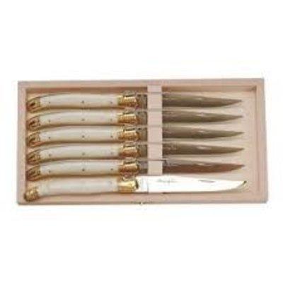 Steak Knife Ivory & Brass Thickness Set/6 - 1.5 Mm