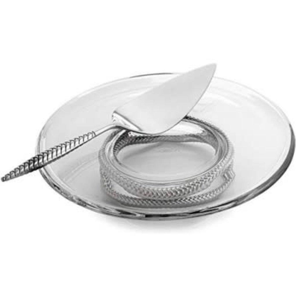 NAMBE Braid Pedestal Cake Plate With Server