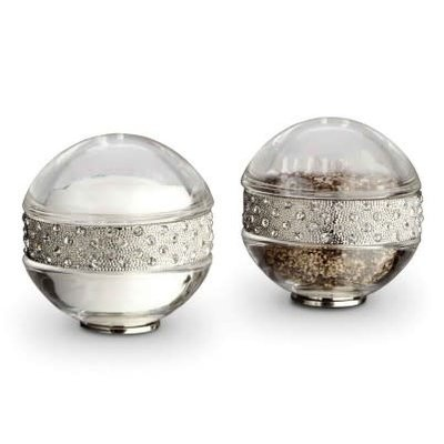 LOBJET Pave Band With White Crystals Salt & Pepper Shakers Platinum Set Of 2