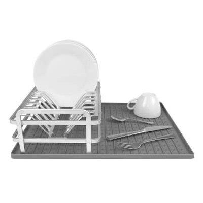 """Ta Da Compact Dish Rack With Dark Grey Silicone Mat 13.22 X 8.62"""""""