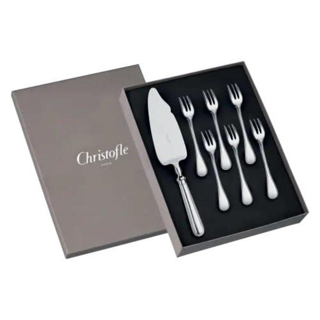 CHRISTOFLE Albi Coffret De 6 Fourchettes Et Pelle À Gâteaux En Métal Argenté