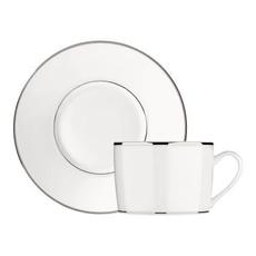 CHRISTOFLE Albi Tasse À Thé / Café Extra Avec Soucoupe En Platine Et Porcelaine 6 3/4 Oz