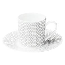 CHRISTOFLE Madison 6 Tasse À Café / Moka Avec Soucoupe En Porcelaine 3 3/8 Oz