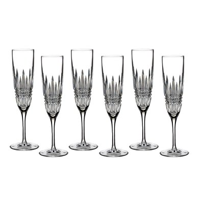 WATERFORD Lismore Diamond Flute Set/6 - 5 Oz