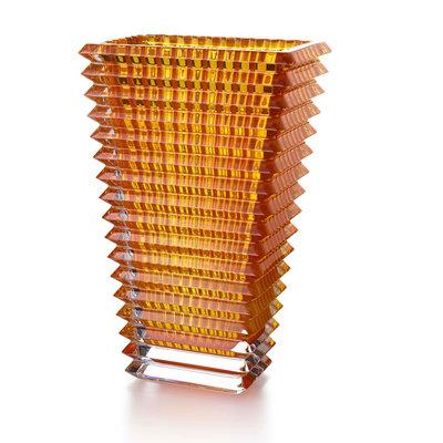 BACCARAT Eye Vase Rectangular Large Amber 11 3/4''