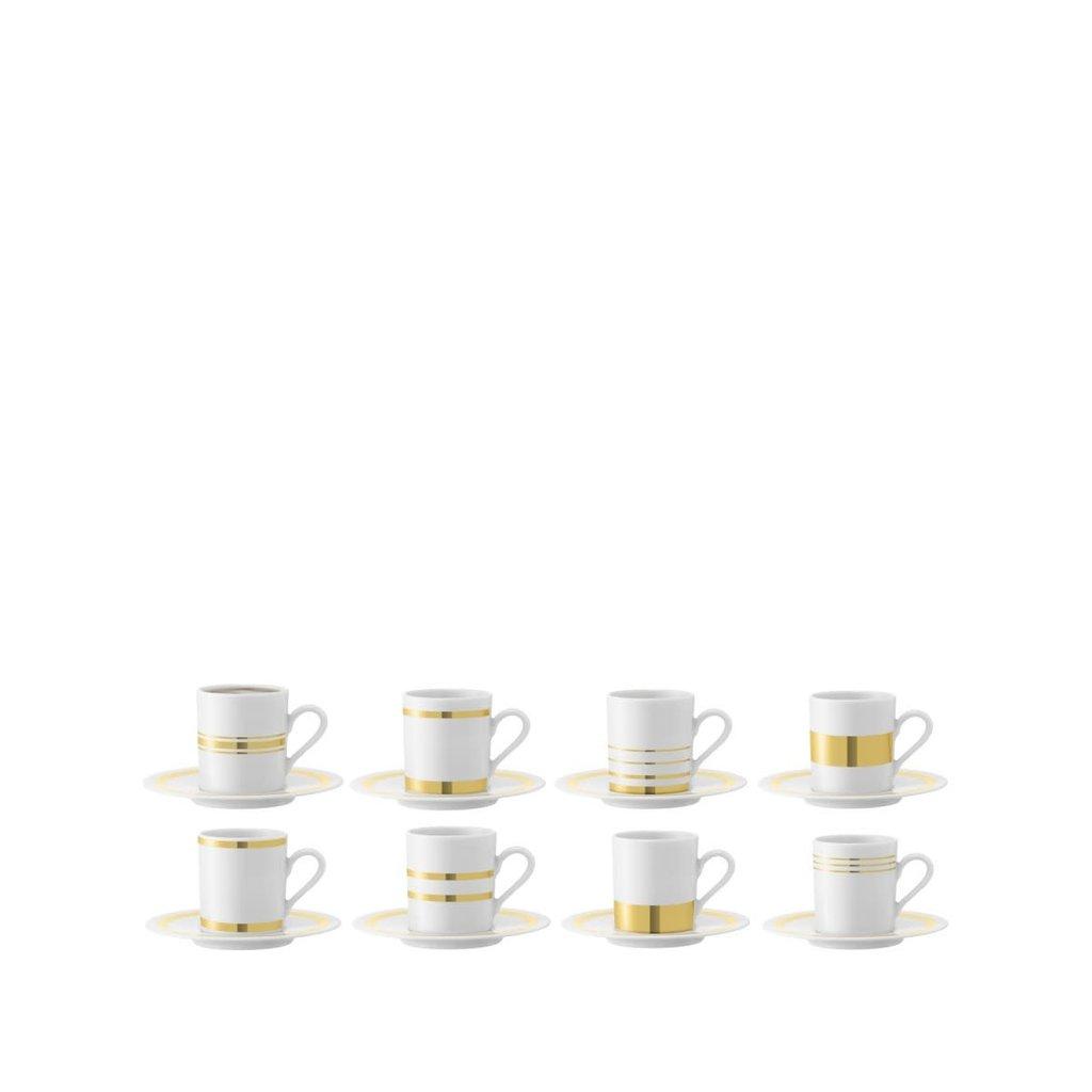 LSA Deco Espresso Cup & Saucer Gold Assorted Set/8 - 0.09 L