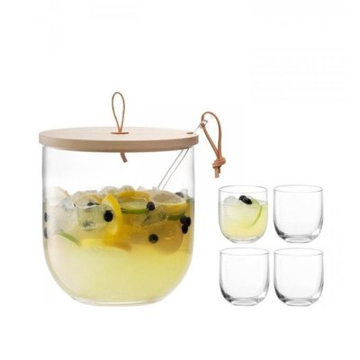 LSA Ivalo Punch Bowl Set & Ash Lid Clear 23 Cm