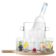 LSA Paddle Vodka Serving Set & Oak Paddle Clear 38.5 Cm
